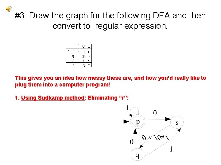 #3. Draw the graph for the following DFA and then convert to regular expression.
