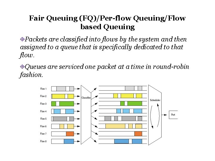 Fair Queuing (FQ)/Per-flow Queuing/Flow based Queuing Packets are classified into flows by the system