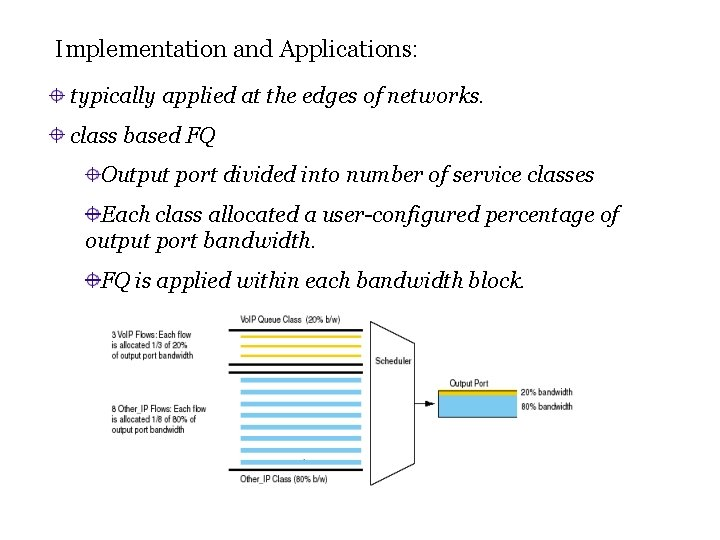 Implementation and Applications: typically applied at the edges of networks. class based FQ Output