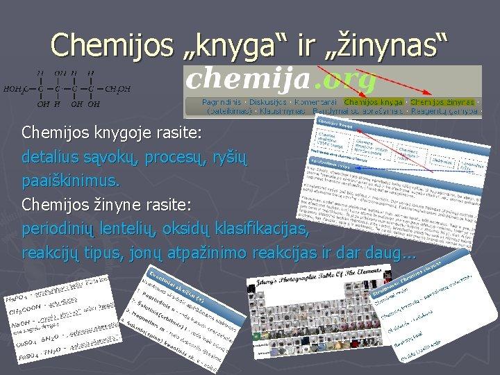 """Chemijos """"knyga"""" ir """"žinynas"""" Chemijos knygoje rasite: detalius sąvokų, procesų, ryšių paaiškinimus. Chemijos žinyne"""