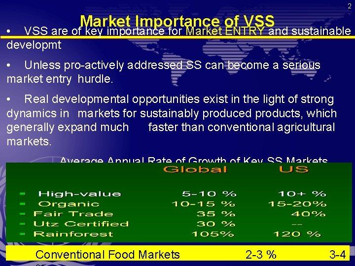 2 Market Importance of VSS • VSS are of key importance for Market ENTRY
