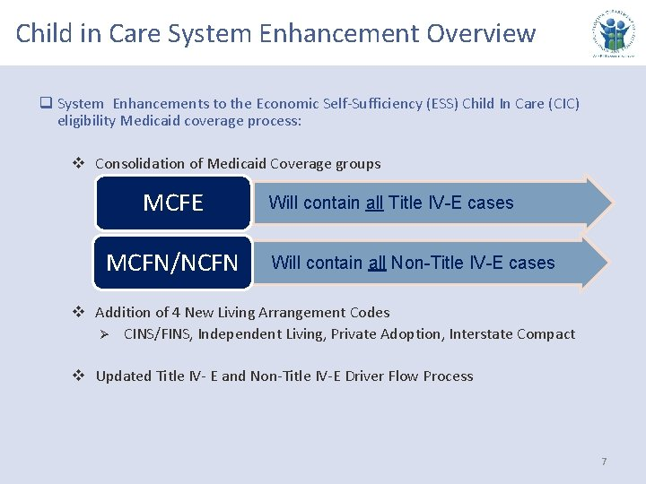 Child in Care System Enhancement Overview q System Enhancements to the Economic Self-Sufficiency (ESS)