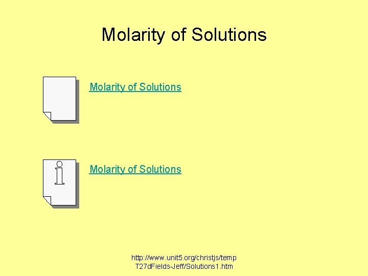 Molarity of Solutions http: //www. unit 5. org/christjs/temp T 27 d. Fields-Jeff/Solutions 1. htm
