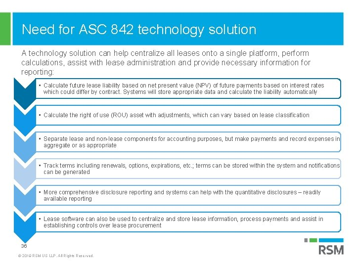 Need for ASC 842 technology solution A technology solution can help centralize all leases
