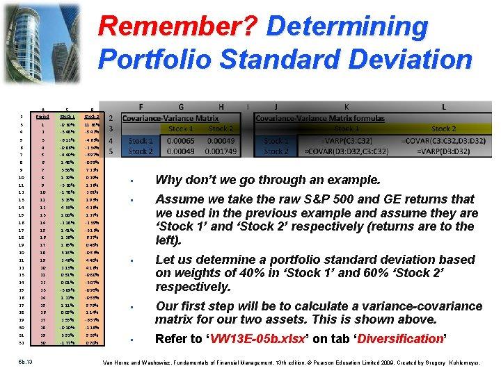 Remember? Determining Portfolio Standard Deviation B C D 2 Period Stock 1 Stock 2