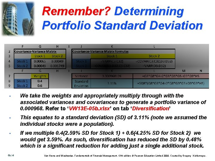 Remember? Determining Portfolio Standard Deviation • We take the weights and appropriately multiply through
