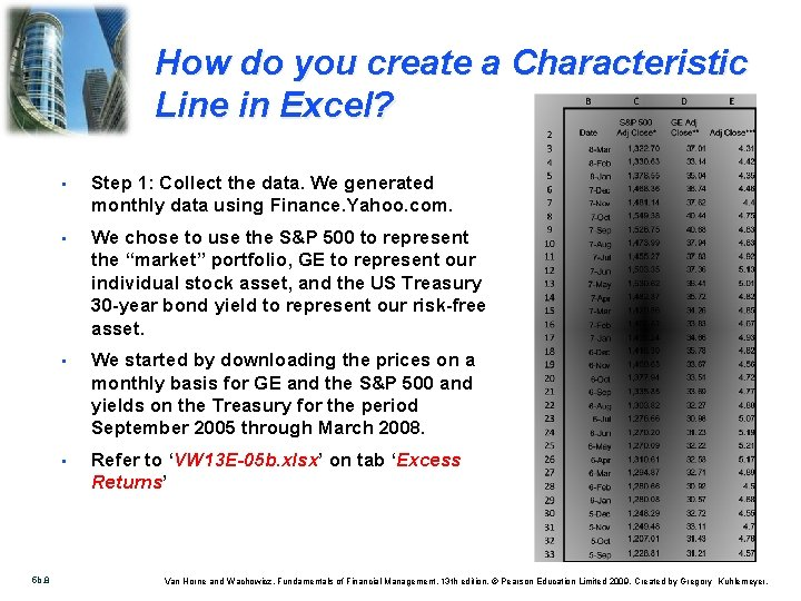 How do you create a Characteristic Line in Excel? 5 b. 8 • Step