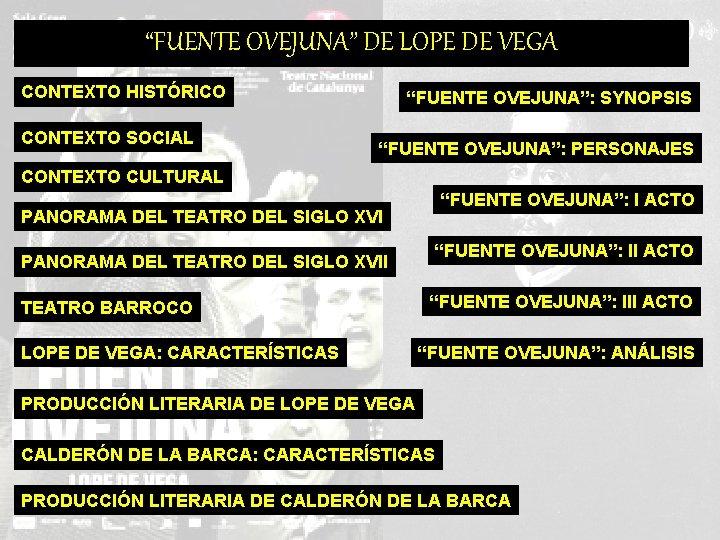 """FUENTE OVEJUNA"" DE LOPE DE VEGA CONTEXTO HISTÓRICO CONTEXTO SOCIAL ""FUENTE OVEJUNA"": SYNOPSIS ""FUENTE"