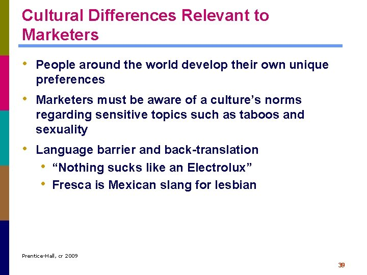 Cultural Differences Relevant to Marketers • People around the world develop their own unique