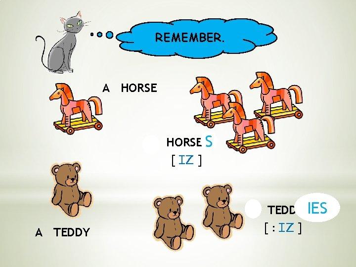 REMEMBER. A HORSE S [ IZ ] A TEDDY IES [ : IZ ]