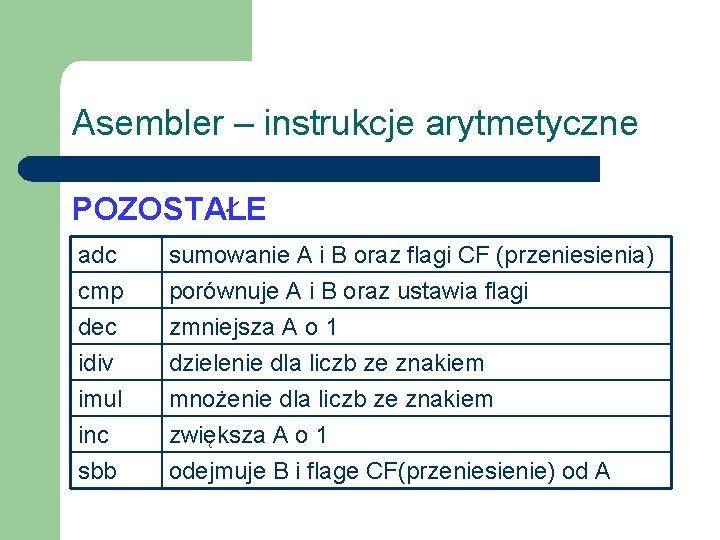 Asembler – instrukcje arytmetyczne POZOSTAŁE adc cmp dec idiv sumowanie A i B oraz