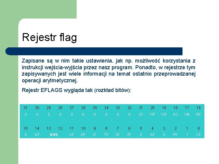 Rejestr flag Zapisane są w nim takie ustawienia, jak np. możliwość korzystania z instrukcji