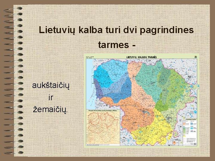 Lietuvių kalba turi dvi pagrindines tarmes - aukštaičių ir žemaičių.