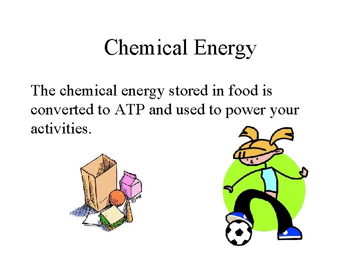 Chemical Energy The chemical energy stored in food is converted to ATP and used