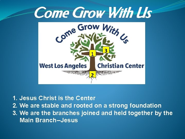 Come Grow With Us 1 3 2 1. Jesus Christ is the Center 2.
