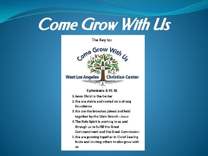 Come Grow With Us Ephesians 4: 15 -16
