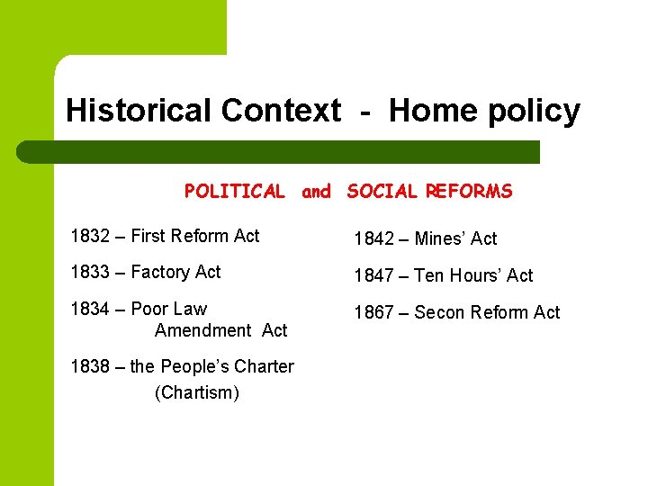 Historical Context - Home policy POLITICAL and SOCIAL REFORMS 1832 – First Reform Act