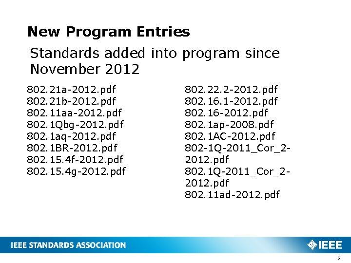 New Program Entries Standards added into program since November 2012 802. 21 a-2012. pdf