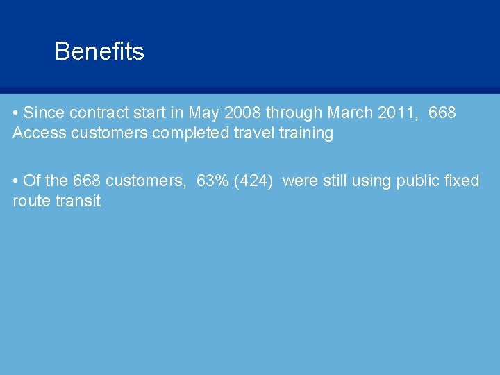 Benefits • Since contract start in May 2008 through March 2011, 668 Access customers