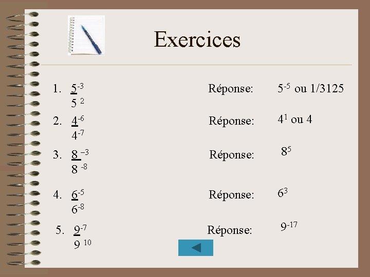 Exercices 1. 5 -3 52 2. 4 -6 4 -7 Réponse: 5 -5 ou