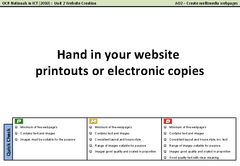 OCR Nationals in ICT (2010) : Unit 2 Website Creation AO 2 – Create
