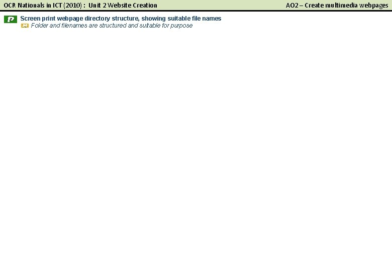 OCR Nationals in ICT (2010) : Unit 2 Website Creation Screen print webpage directory