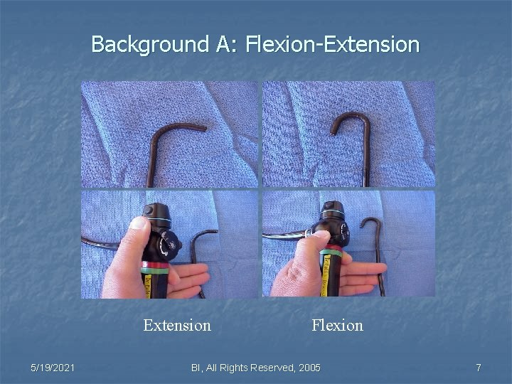 Background A: Flexion-Extension 5/19/2021 Flexion BI, All Rights Reserved, 2005 7