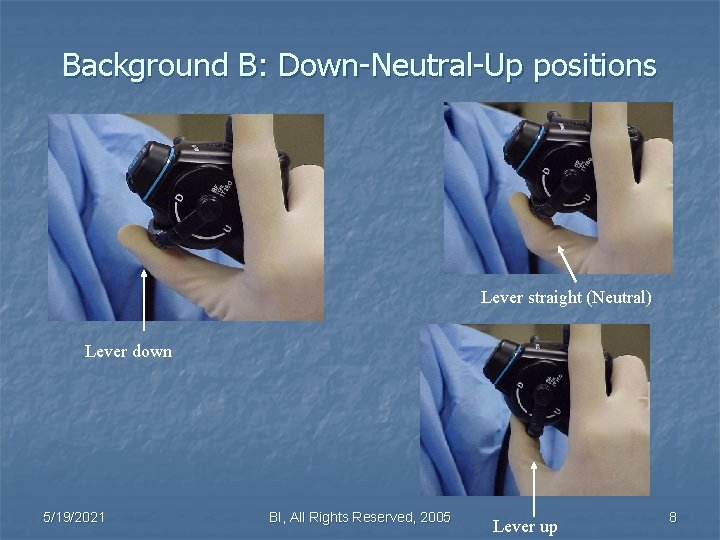 Background B: Down-Neutral-Up positions Lever straight (Neutral) Lever down 5/19/2021 BI, All Rights Reserved,