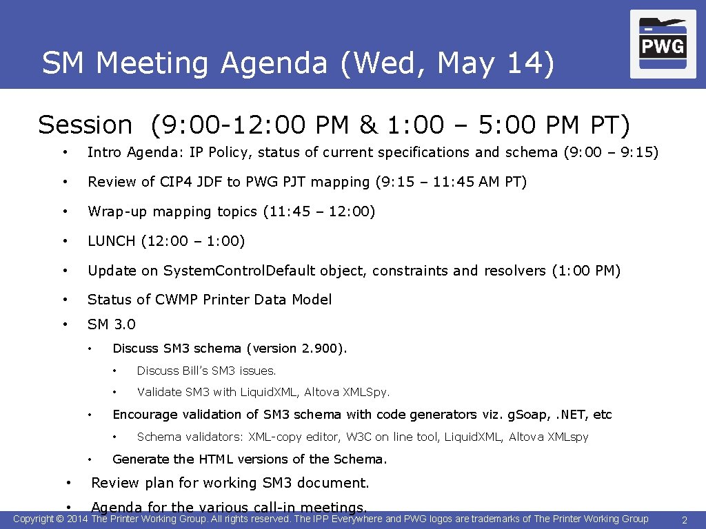 SM Meeting Agenda (Wed, May 14) Session (9: 00 -12: 00 PM & 1: