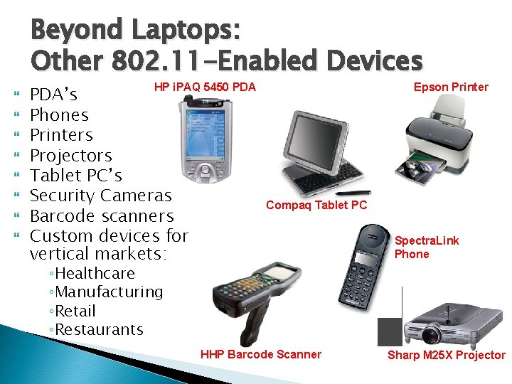 Beyond Laptops: Other 802. 11 -Enabled Devices Epson Printer HP i. PAQ 5450 PDA's
