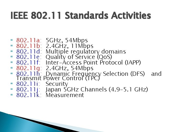 IEEE 802. 11 Standards Activities 802. 11 a: 5 GHz, 54 Mbps 802. 11