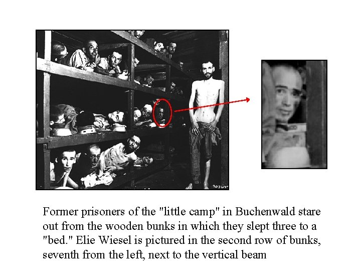 """Former prisoners of the """"little camp"""" in Buchenwald stare out from the wooden bunks"""
