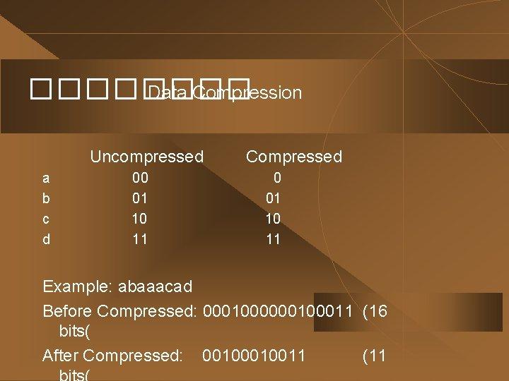 ���� Data Compression Uncompressed a b c d 00 01 10 11 Compressed 0