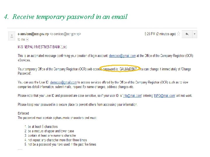 4. Receive temporary password in an email