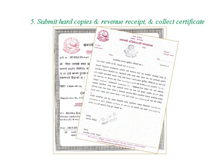 5. Submit hard copies & revenue receipt, & collect certificate