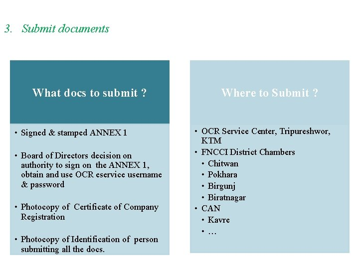 3. Submit documents What docs to submit ? • Signed & stamped ANNEX 1