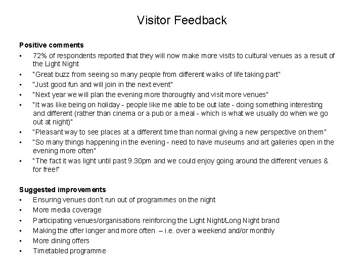 Visitor Feedback Positive comments • 72% of respondents reported that they will now make