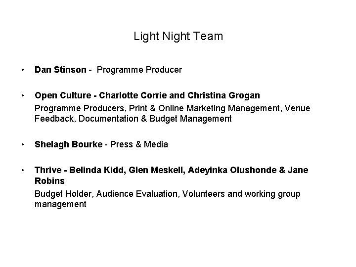 Light Night Team • Dan Stinson - Programme Producer • Open Culture - Charlotte