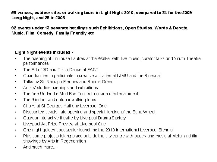 55 venues, outdoor sites or walking tours in Light Night 2010, compared to 34