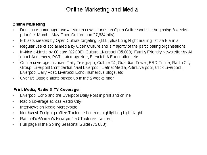 Online Marketing and Media Online Marketing • Dedicated homepage and 4 lead up news