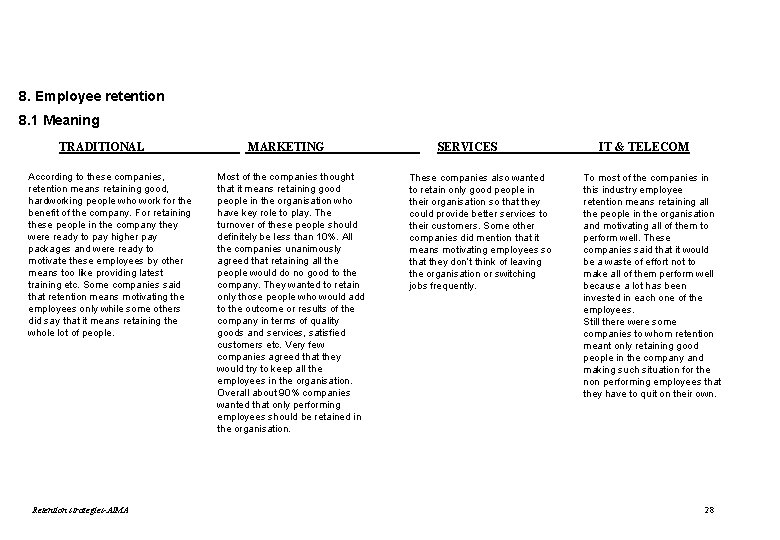 8. Employee retention 8. 1 Meaning TRADITIONAL According to these companies, retention means retaining