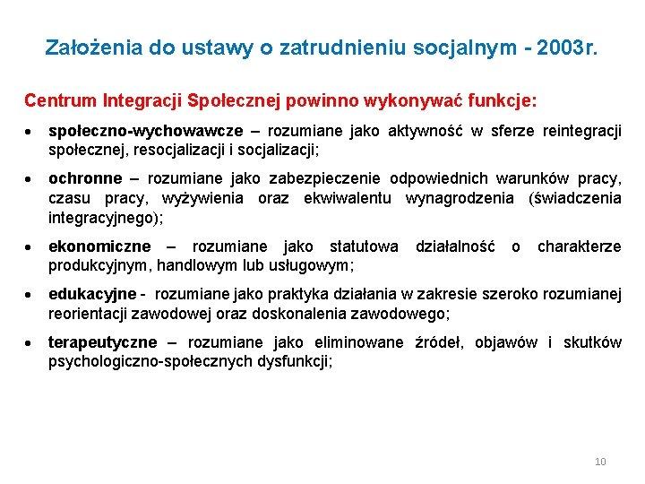 Założenia do ustawy o zatrudnieniu socjalnym - 2003 r. Centrum Integracji Społecznej powinno wykonywać