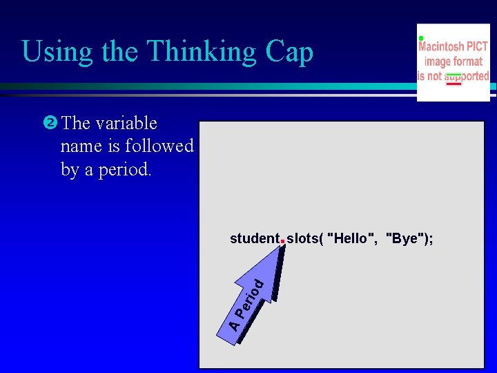 Using the Thinking Cap The variable name is followed by a period. . AP