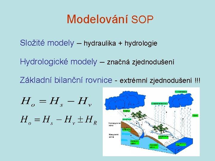 Modelování SOP Složité modely – hydraulika + hydrologie Hydrologické modely – značná zjednodušení Základní