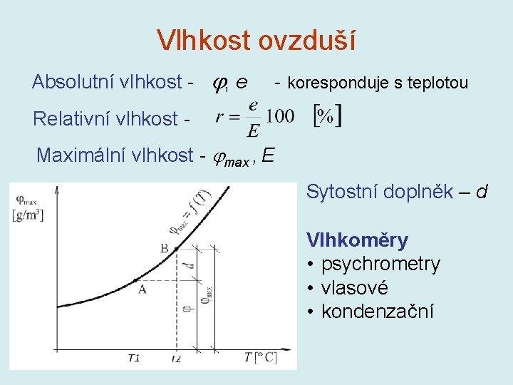 Vlhkost ovzduší Absolutní vlhkost - , e - koresponduje s teplotou Relativní vlhkost Maximální