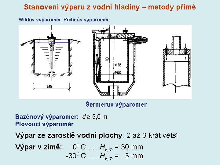 Stanovení výparu z vodní hladiny – metody přímé Wildův výparoměr, Picheův výparoměr Šermerův výparoměr