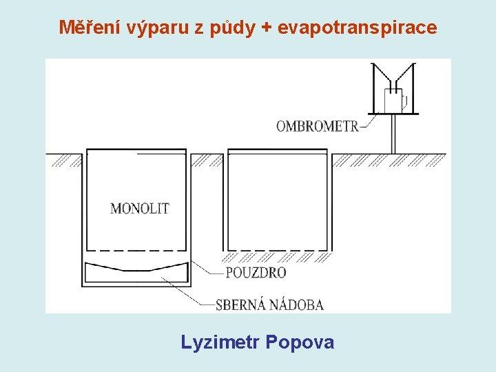 Měření výparu z půdy + evapotranspirace Lyzimetr Popova