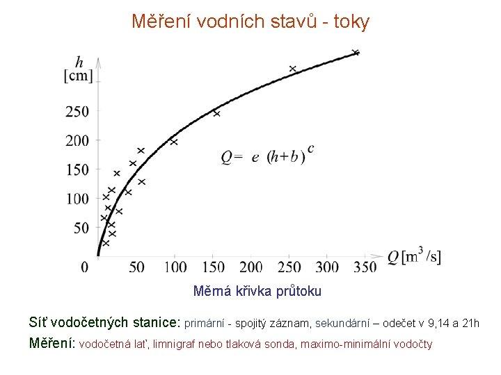 Měření vodních stavů - toky Měrná křivka průtoku Síť vodočetných stanice: primární - spojitý