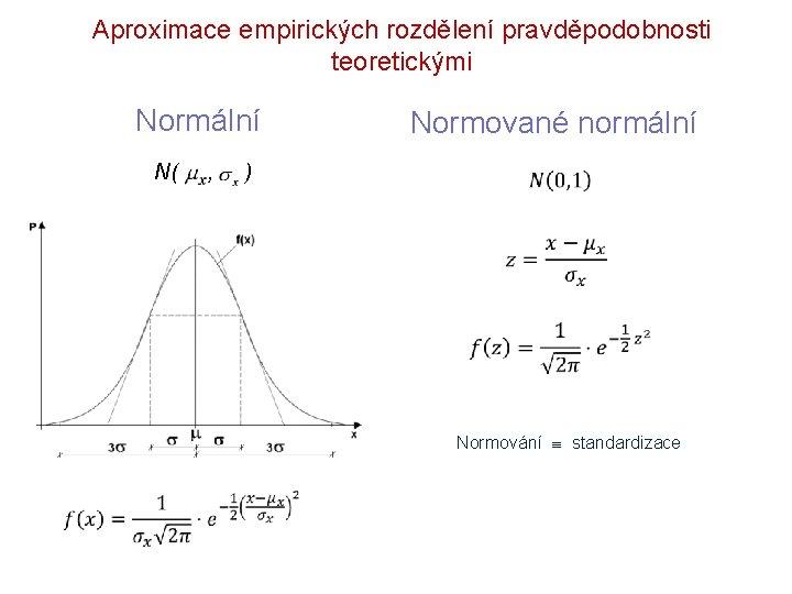 Aproximace empirických rozdělení pravděpodobnosti teoretickými Normální N( , Normované normální ) Normování standardizace