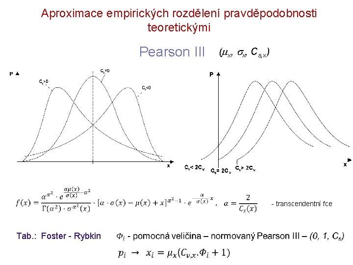 Aproximace empirických rozdělení pravděpodobnosti teoretickými Pearson III ( x, Cs, x) - transcendentní fce